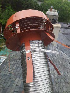 Hanging cowl fit a chimney liner roof