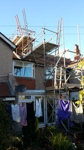 fit a chimney liner scaffold