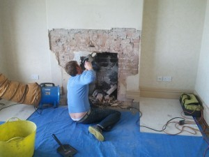 fireplace opening up with breaker