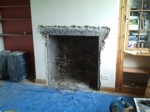 large opening fireplace