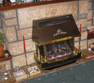 gas fire in fireplace