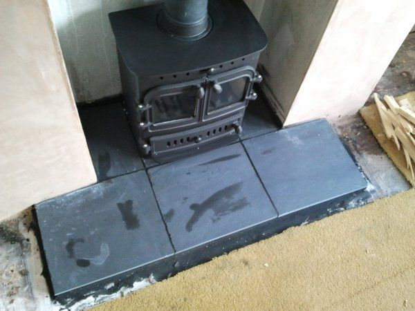 Building a hearth for a wood burning stove: Simple Slate ...