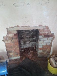 fireplace ready for smooth lining